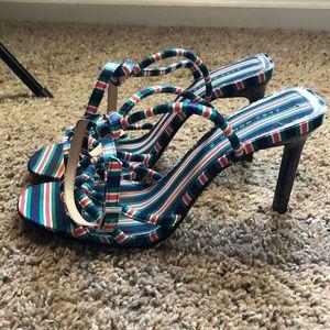 Zara striped strappy heels